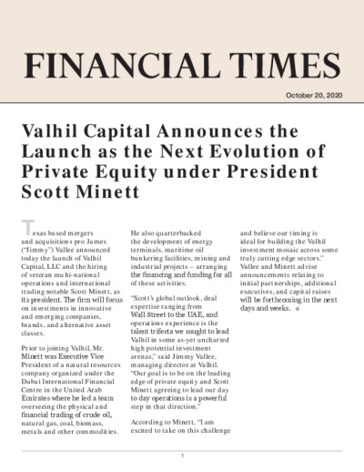 Valhil Capital Announces the Launch as the Next Evolution of Private Equity under President Scott Minett